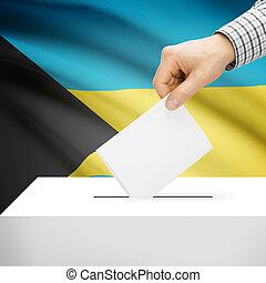 Ballot box with national flag on background - Bahamas -...