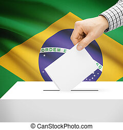 Ballot box with national flag on background - Brazi - Ballot...