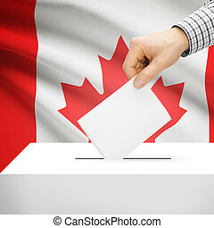 Ballot box with national flag on background - Canada -...