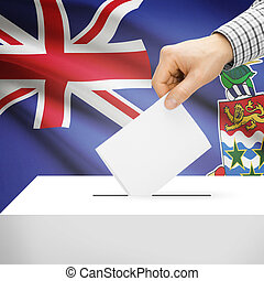 Ballot box with national flag on background - Cayman Islands...