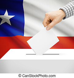 Ballot box with national flag on background - Chile - Ballot...