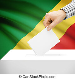 Ballot box with national flag on background - Republic of...