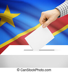 Ballot box with national flag on background - Democratic...