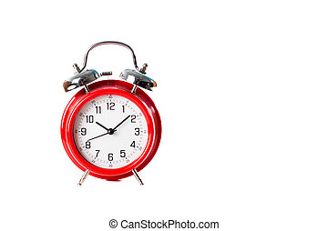 red classic clock isolated on white