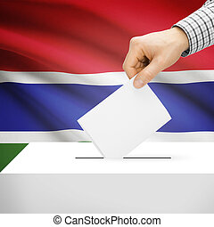 Ballot box with national flag on background - Gambia -...