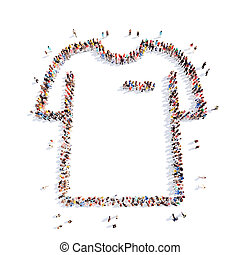 pessoas, em, a, forma, de, shirt.,