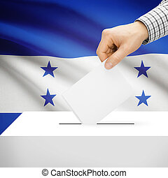 Ballot box with national flag on background - Honduras -...
