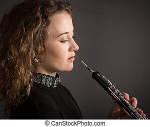 美麗, 年輕, 女性, 雙簧管, 表演者,
