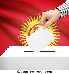 Ballot box with national flag on background - Kyrgyzstan -...