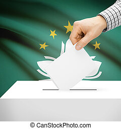 Ballot box with national flag on background - Macau - Ballot...