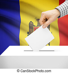 Ballot box with national flag on background - Moldova -...