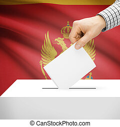 Ballot box with national flag on background - Montenegro -...