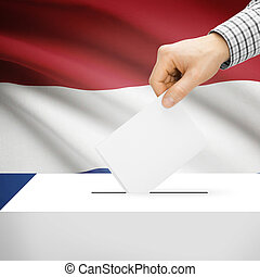 Ballot box with national flag on background - Netherlands -...
