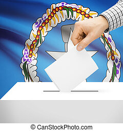 Ballot box with national flag on background - Northern...