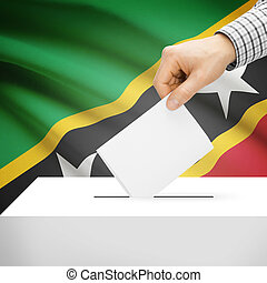 Ballot box with national flag on background - Saint Kitts...