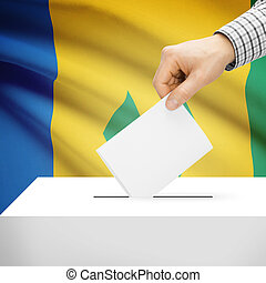Ballot box with national flag on background - Saint Vincent...