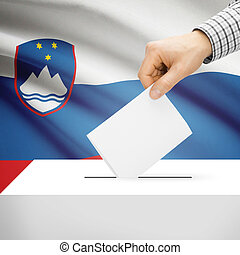 Ballot box with national flag on background - Slovenia -...