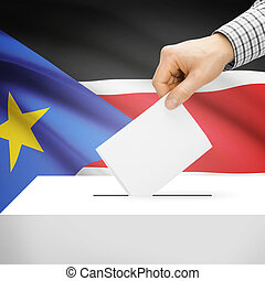 Ballot box with national flag on background - South Sudan -...