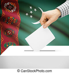 Ballot box with national flag on background - Turkmenistan -...