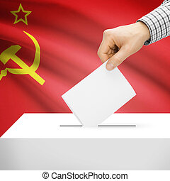 Ballot box with national flag on background - USSR - Ballot...