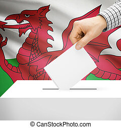 Ballot box with national flag on background - Wales - Ballot...