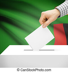 Ballot box with national flag on background - Zambia -...