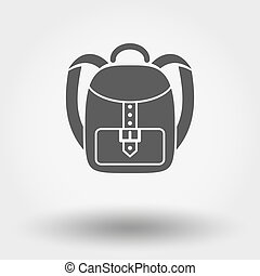 Schoolbag. Single flat icon on white background. Vector...