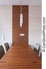 Wooden table in conference room