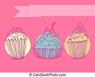 Hand drawn set of muffins - Cute set of outlined cupcakes...