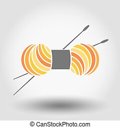 Skein of yarn for knitting and needles. Web icon. Vector...