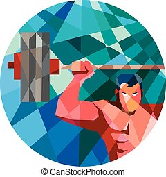 Weightlifter Snatch Grab Lifting Barbell Low Polygon - Low...