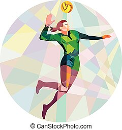 Volleyball Player Spiking Ball Jumping Low Polygon - Low...