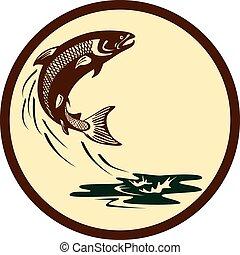 Atlantic Salmon Fish Jumping Water Retro
