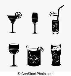 Cocktail design - Cocktail design over white background,...