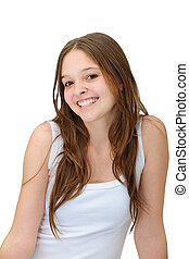 happy young woman smiling - happy young woman smiling...