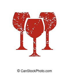Red grunge stemware logo on a white background Vector...