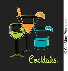 Cocktail design - Cocktail design over gray background,...