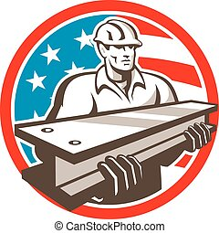 Construction Steel Worker I-Beam USA Flag Circle -...