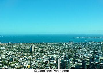 Melbourne, cidade, aéreo, vista