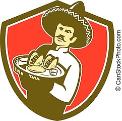 Mexican Chef Cook Serving Taco Plate Shield - Illustration...