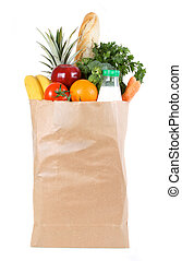 shopping bag - Brown paper shopping bag filled with fresh...