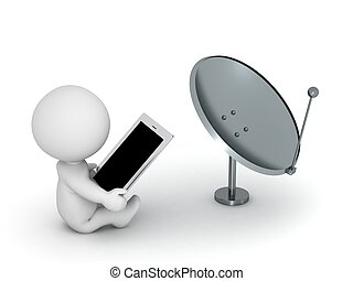 3D Character with Tablet and Dish - A 3D character using a...