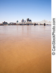 Muddy Ohio River After Flooding Vertical Skyline Louisville...