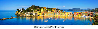 Sestri Levante, silence bay sea and beach panorama Liguria,...