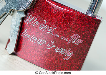 Love - Padlock with the german words we three for ever and...