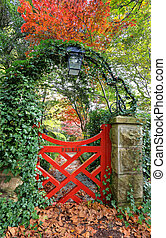 Little Red Gate at Bebear Gardens - The little red gate at...