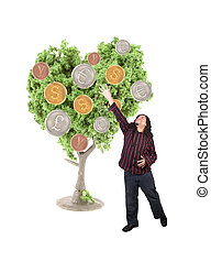 Money growing on tree - An ethnic looking man stretches to...
