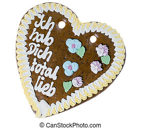 Love - Gingerbread heart with the german words I got you...