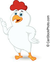 White chicken cartoon with thumb up