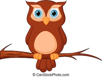 Owl cartoon standing on tree - Vector Illustration of Owl...